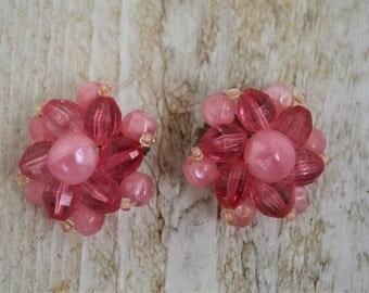 VINTAGE Cluster Earrings, CLIP-On--PINK Bead, c. 1950s/60s