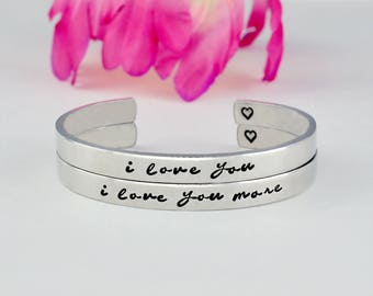 i love you  i love you more - Hand Stamped Cuff Bracelets Set of 2, Mother Daughter Sisters Jewelry, Family Love Personalized Gift