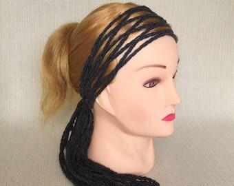 Gypsy crochet head wrap Womens headscarf Crochet headband Boho head scarf Hippie hair scarf wrap Bohemian head bands for Women headwrap