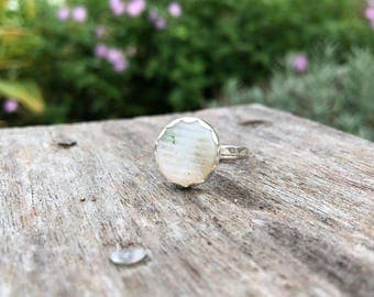 Japanese Sea Glass Ring, engagement ring, bezel set in argentium silver, ohajiki sea glass, rare, Eco friendly, beach ocean jewelry,women