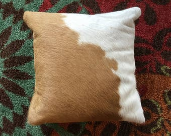 "Cowhide Pillow 16"" X 16""  Brown and White Cowboy Decor Western Southwest Cowboy Christmas C"