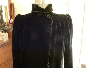 Vintage 30's Black Silk Velvet Long Opera Coat 1930's