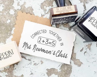 Teacher Stamp- Teacher Class Stamp- Corrected in Class Stamp- School Stamp- Teacher Appreciation Gift- Back to School Rubber Stamp