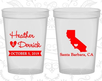California Wedding Cups, California Wedding, Imprinted Party Cups, Destination Wedding, State Cups, Plastic Cups (104)