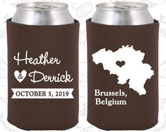 Brown Wedding, Brown Can Coolers, Brown Wedding Favors, Brown Wedding Gift, Brown Party Decor (161)
