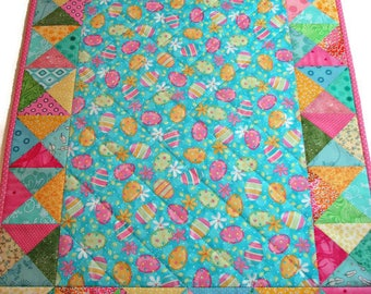 "Easter Quilted Table Runner, Pastel Easter Egg Table Topper, Spring Table Mat, 18""x27"", Quiltsy Handmade"