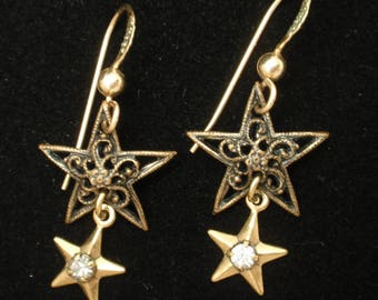 Double Star Drop Earrings on Wires Vintage