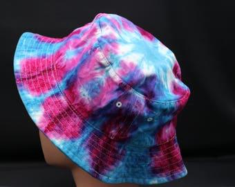 Tie Dye Pink Teal Bucket Hat, OOAK Psychedelic Fishermans Hat