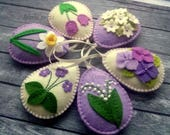 Felt Easter decor, Lilac Easter Eggs, Purple Easter ornaments, Lily of the valley, Violet flowers, Spring flowers, easter decoration / set 6