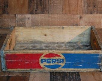 Vintage Pepsi Soda  crate, vintage wood soda crate, Craft storage crate, vintage storage crate, vintage wood storage