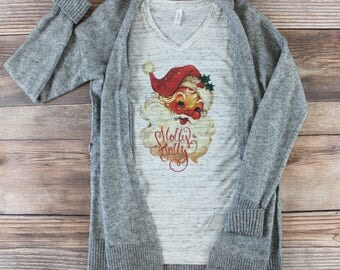 Christmas Shirts for Women/ Womens Christmas Shirt/ Holiday Shirt/ Christmas Shirts for Family/ Christas Tshirt/ Vintage Santa Shirt/ Retro