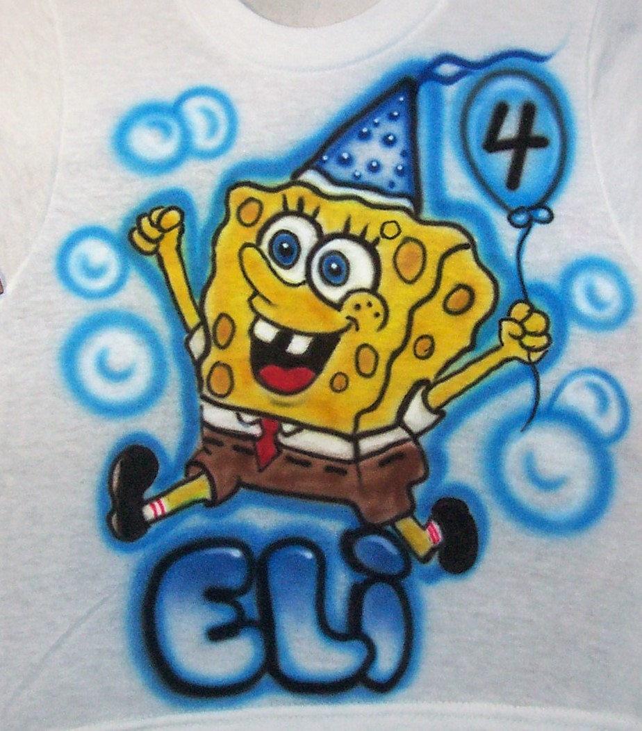 Spongebob Airbrushed Birthday T Shirt Toddler Youth And Adult Sizes Sponge Bob