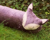 Fox draught excluder.  A crushed velvet fox draft excluder. 109cm in length.  43 inches.
