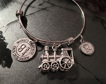 Harry Potter Inspired - Hogwarts Crossing Adjustable Bangle Bracelet Train (LARGE) and Initial Charm