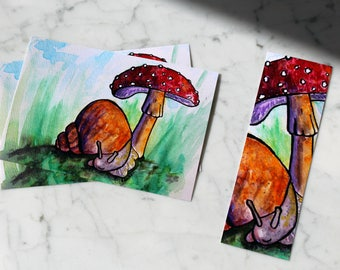 Little Snail Watercolor Bookmark or Print
