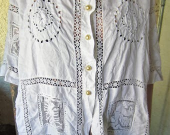 Unique blouse made from an ancient handmade tablecloth, Hanmdmade in Switzerland