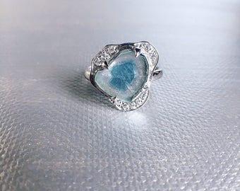 Blue tourmaline ring, tourmaline slice, tourmaline ring, tourmaline jewelry, raw gemstone ring, bicolor tourmaline, gift ideas, ooak ring