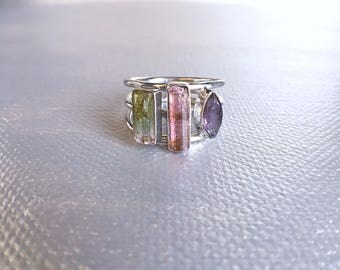 Tourmaline ring, raw tourmaline, pink tourmaline, amethyst ring, unique ring, raw gemstone jewelry, raw crystal ring, gift ideas, ooak, Zeba