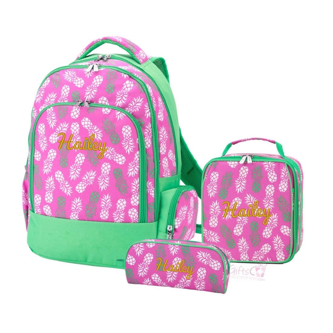 monogrammed matching pineapple backpack  u0026 lunchbox set pink