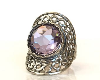 Lavender Quartz Sterling Silver Filigree Ring Purple Amethyst Color Gemstone Ring Birthday Gift for Her Anniversary Estate Jewelry Size 7