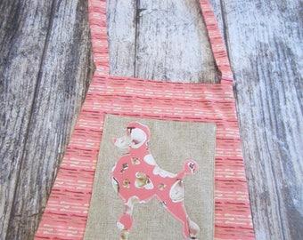 Tote - over the shoulder pink poodle with pocket