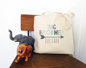 Big Brother Personalized Arrow Tote Bag // Custom Canvas Big Brother Gift Bag // Arrow Big Bro Tote Bag