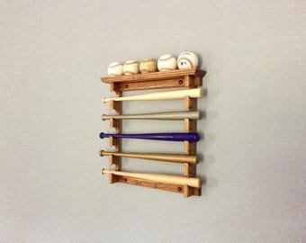 Made in the USA Horizontal Mini Bat Rack with Baseball Shelf Oak Finish