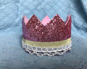 Child's Crown--Pink w/ Gold & Pearl Trim