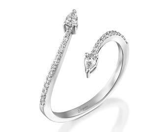 Snake Ring White Gold Snake Ring Engagement Ring Wedding Ring Promise Ring Diamond Ring Animal ring Drop Ring Snake Jewelry Ouroboros Ring