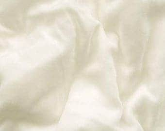 Silk velvet fabric - approx 140cm - 54 inches wide-  Ivory - priced per yard