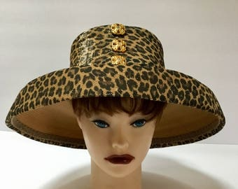 Vintage Leopard Lamp Shade Hat / Bucket Hat /  By Matki / Abstract / Avant-garde / High Fashion / Formal Hat