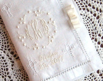 Monogrammed Linen Bible Cover, Hemstitched, Baby, Christening, Baptism, First Christmas, You Can Include Miniature New Testament in White