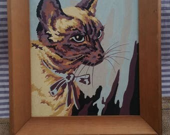 Vintage Paint by Numbers Siamese cat painting