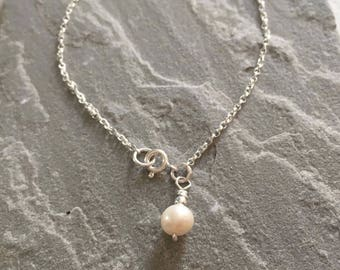 White Pearl Chain Anklet, Sterling Silver Ankle Chain, Pearl Ankle Bracelet, Ankle Chain, Pearl Charm Anklet, Anklet Chain