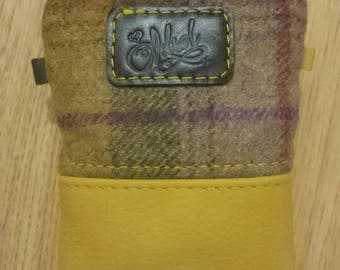 Tweed and leather pouch,coins pouch, wallet,purse accessories