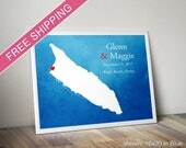 Custom Aruba Print with Watercolor Background - Wedding Guest Book, Wedding Gift, Engagement Gift, Anniversary Gift