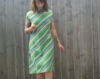 1970s Orange Green Side Button and Scarf Mini Dress Diagonal Lines