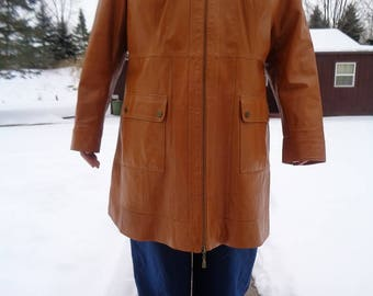 Womans Carmel colored 1980s vintage soft lightweight leather jacket,coat by Jessica London size 18