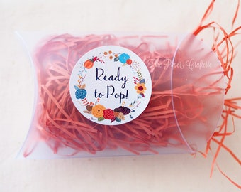 30 x Ready To Pop Floral Wreath Baby Shower Stickers About To Pop