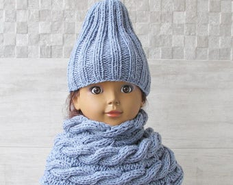 Toddler Hat and Cabled Scarf, Kids Slouchy Beanie and Neck warmer Set, Knitted Toddler Hat, Kids Knit Cowl Scarf, Beanie