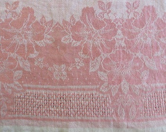 "Tablecloth Pink and White Cotton DAMASK Fabric Woven Intricate Patterns Tone on Tone  //  Vintage Damask Tablecloth 67"" by 52 1/2"""