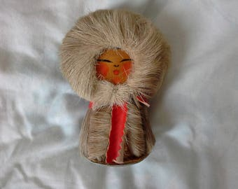 vintage Eskimo figure real fur