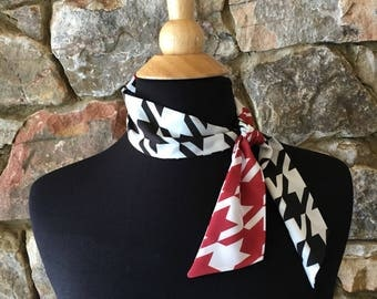 Houndstooth Red and Black mini scarf