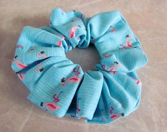 Pink Flamingo Handmade Hair Scrunchie 100% Cotton