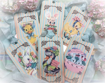6 EASTER TAGS and RIBBONS Set Tags/Card Vintage Retro Gift Bag Art Shabby Chic Journal Scrapbook Spring Decor Bunny Duck Rabbit Bunnies Eggs