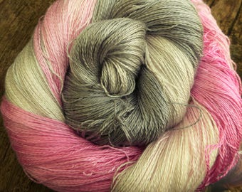 MULBERRY SILK Laceweight Lace super-soft Pure Silk, 100 gms 800 mts Mollycoddle Yarns, hand dyed indie dyer