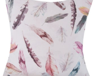 "Designer handmade feather pastel pink purple luxury 16"" cushion cover"