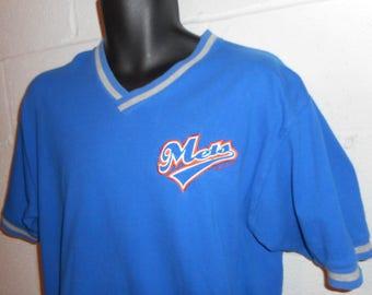 Vintage 90s New York Mets V-Neck Short Sleeve Shirt Large
