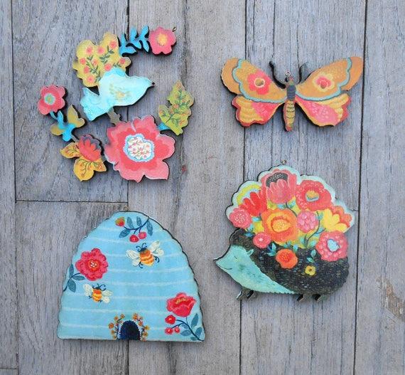 Xmas ornament sets, rustic ornament set, xmas gift ideas, woodland ornaments, hedgehog ornament, wood ornament tree, beekeeper gift