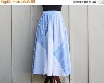 Vintage Circle Skirt - Retro Eyelet Skirt - 80s Does 60s Skirt - Blue and White Skirt - High Waist Flare Skirt - Swing Skirt - Mod Skirt